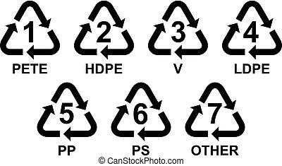 symbolen, plastic, set, recycling