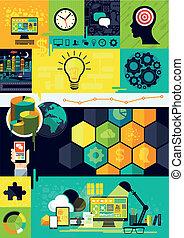 symbolen, plat, infographic, ontwerp