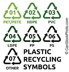 symbolen, recycling, plastic