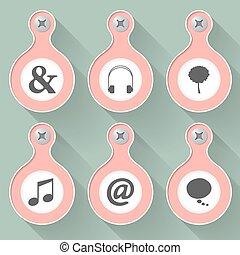 symbolen, set, vector, zes voorwerpen