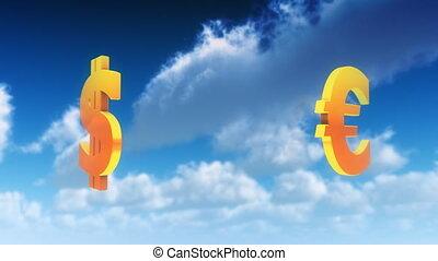 symbolen, valuta, wolken, (loop)
