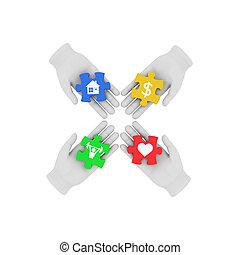symbols., gekleurde, illustratie, hand, raadsels, achtergrond., het verbinden, menselijk, witte , 3d