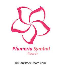 symbool, bloem, (frangipani), plumeria