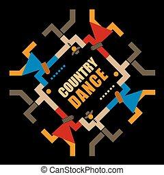 symbool., dans, dancing, feestje, decoratief, land, abstract