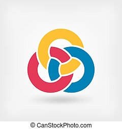 symbool, drie, ringen, interlocking, abstract
