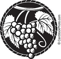symbool, druif, ontwerp, druiven, (grapes