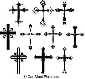 symbool, set, kruis