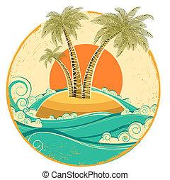 symbool, textuur, tropische , papier, oud, zon, island., vector, zeezicht, ouderwetse