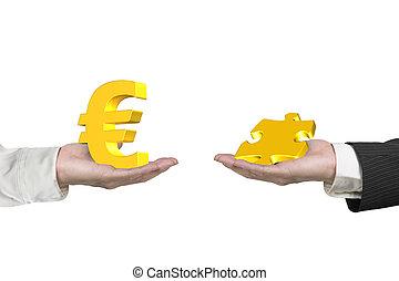 symbool, twee handen, stuk, raadsel, eurobiljet
