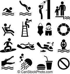symbool, zee, zwemmen, strand, pool, pictogram