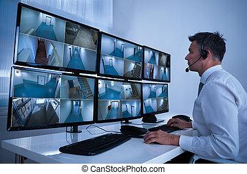 systeem, beeldmateriaal, anwender, het kijken, cctv, veiligheid, bureau