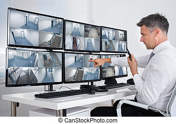 systeem, beeldmateriaal, anwender, het kijken, cctv, veiligheid