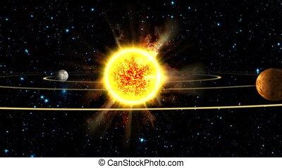 systeem, zonne, aarde