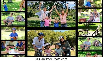 t, montage, families, hebbend plezier