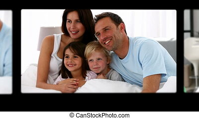 t, montage, schattig, uitgeven, gezin