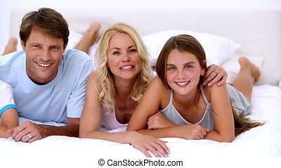 t, schattig, het glimlachen, fototoestel, gezin