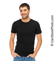 t-shirt, man, black , leeg
