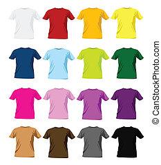 t-shirt, voorbeelden, ontwerp, kleurrijke