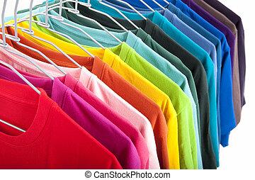 t-shirt, witte achtergrond, vrijstaand, kleurrijke