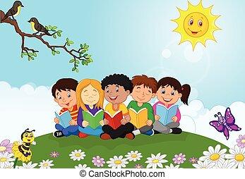 t, vrolijke , kinderen, spotprent, zittende