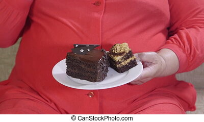 taart, etende vrouw, dik