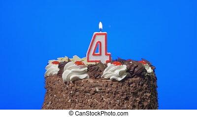 taart, kaarsje, blazen, nummer 4