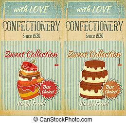 taart, menu, set, retro
