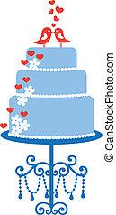 taart, vogels, vector, trouwfeest