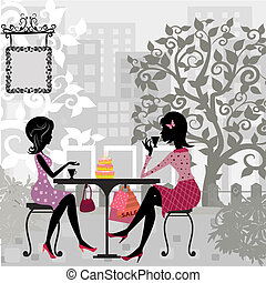 taart, zomer, meisje, koffiehuis
