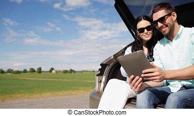 tablet, 33, auto, paar, pc, romp, hatchback, vrolijke