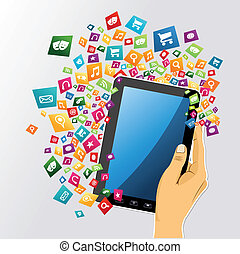 tablet, app, icons., hand, pc, menselijk, digitale