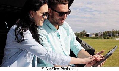 tablet, auto, paar, 34, pc, romp, hatchback, vrolijke