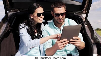 tablet, auto, paar, 35, pc, romp, hatchback, vrolijke