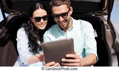 tablet, auto, paar, pc, romp, 32, hatchback, vrolijke
