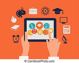 tablet, concept., icons., aandoenlijk, vector., handen, e-leert, opleiding