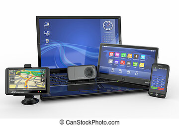 tablet, electronics., beweeglijk, draagbare computer, pc, telefoon, navigatiesysteem