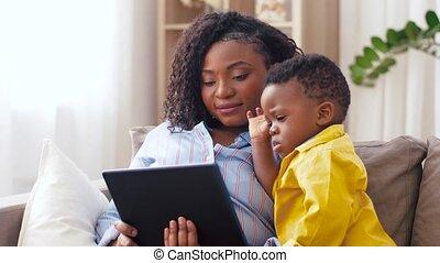 tablet, gebruik, zoon, pc, moeder, baby, thuis