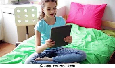 tablet pc, video, praatje, thuis, meisje, hebben