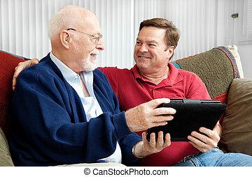 tablet, vader, zoon, pc, het genieten van