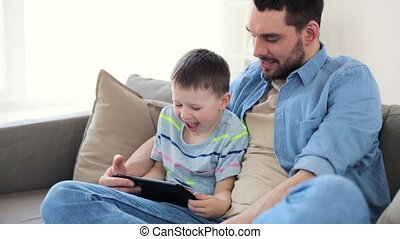 tablet, vader, zoon, pc, thuis, spelend