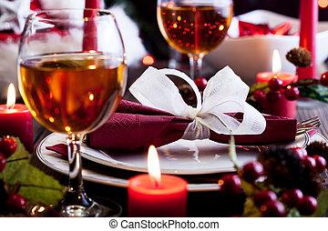 tafel, dishware, kerstmis