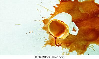 tafel, gemorste, -, doek, kleine, koffie, witte kop