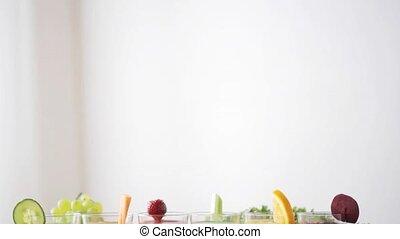 tafel, groentes, bril, sap, vruchten
