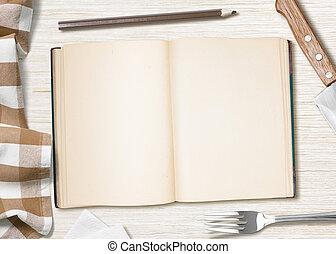 tafel, het koken, boek, leeg, potlood, recept, of, keuken, opmerkingen