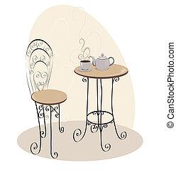 tafel, koffiehuis, franse