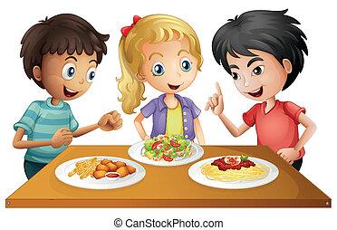 tafel, voedsel, geitjes, schouwend