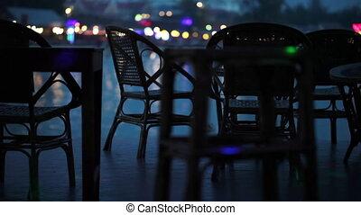 tafels, bar, mensen, achtergrond, waterkant, voorbijgaand, lege