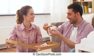 takeaway, thuis, eetpizza, paar