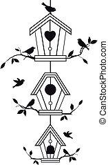 takken, birdhouses, boompje