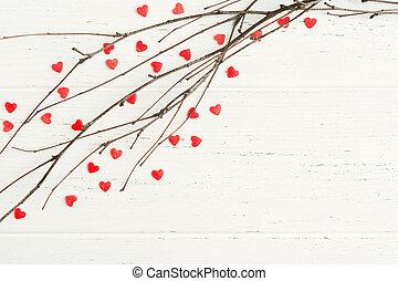 takken, houten, op, boompje, achtergrond, hartjes, rood